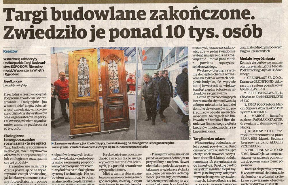 Artykuł w gazecie Nowiny